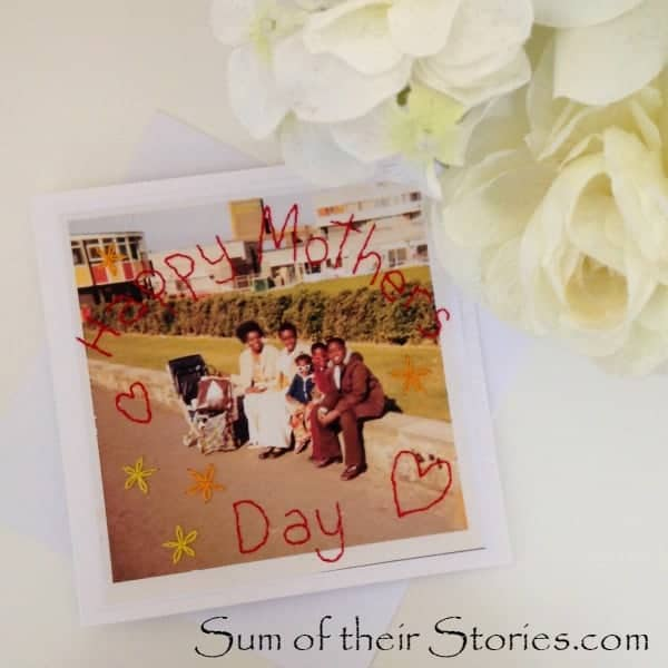stitched photo mothers day card