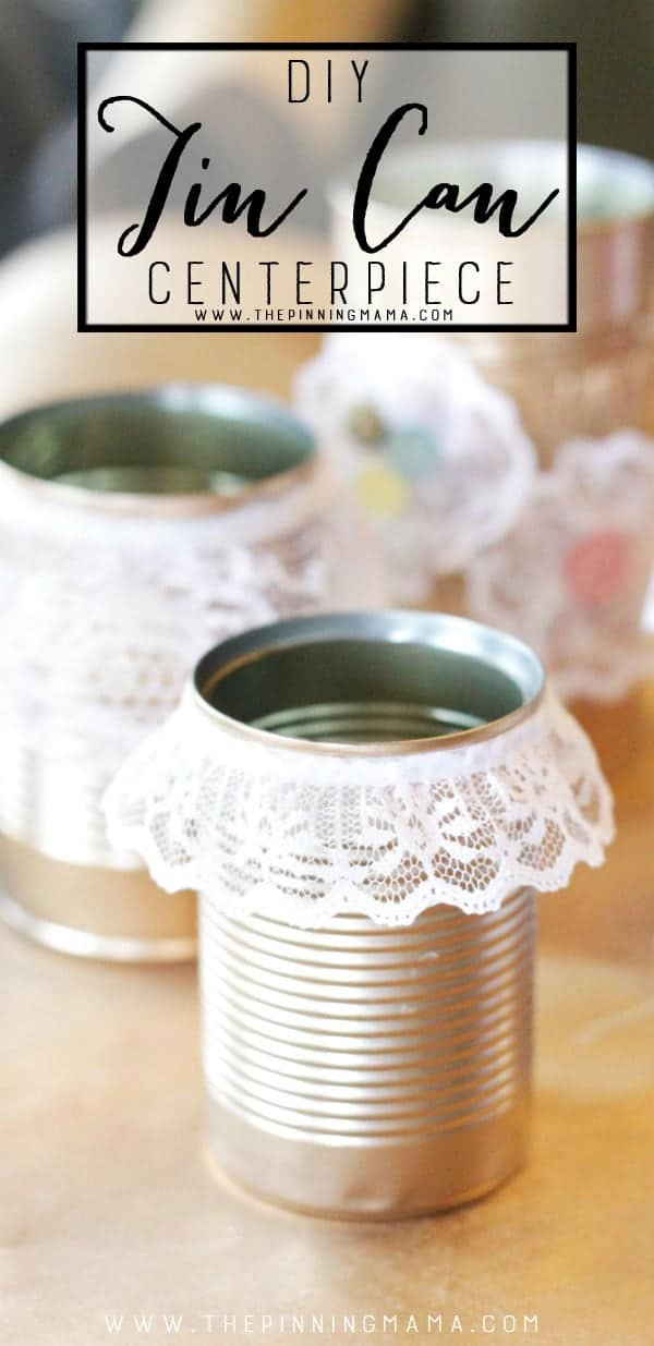 Easy Shabby Chic Gold Tin Can Decorations for weddings, baby showers, or banquets. This is a cheap and easy way to decorate a lot of space and looks STUNNING!