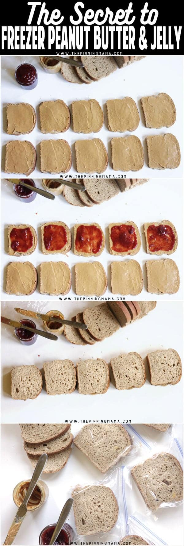 How to make freezer peanut butter and jelly sandwiches so they aren't soggy!! Great for prepping a weeks worth of lunches at a time to save time and stress in the mornings! I can do this for school and work lunches!