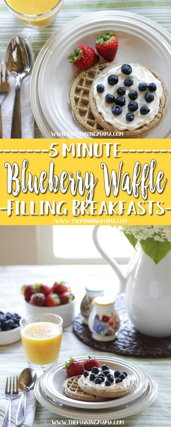 Blueberry Cream Cheese Waffle : Fast Healthy Breakfast Idea - A total of six 5 minute breakfast ideas that you and your kids will love! Check out all the other ideas for lots of great quick breakfast ideas!