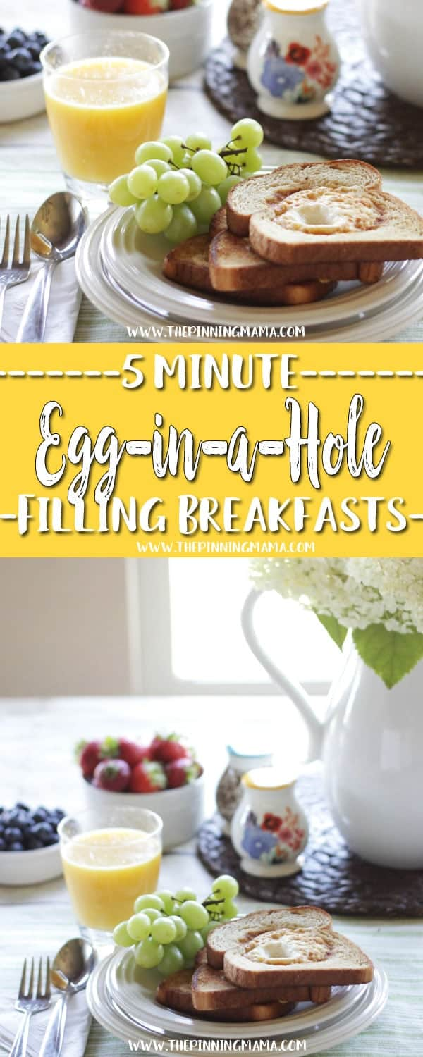 Egg-In-A-Hole : Fast Healthy Breakfast Idea - A total of six 5 minute breakfast ideas that you and your kids will love! Check out all the other ideas for lots of great quick breakfast ideas!