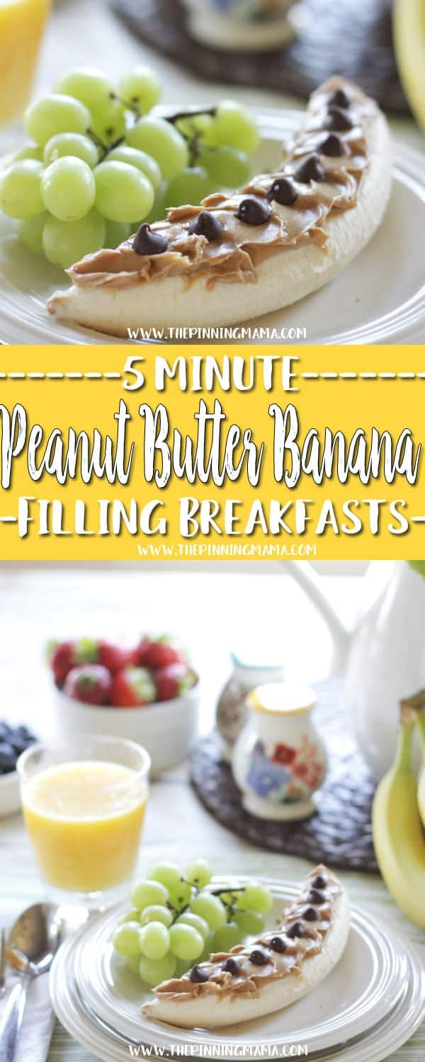 Peanut Butter Banana Breakfast Idea - 6 five minute breakfast ideas that you and your kids will love! I add chocolate chips to the banana for the kids, but my husband and I love to just eat it plain. Check out all the other ideas for lots of great quick breakfast ideas!