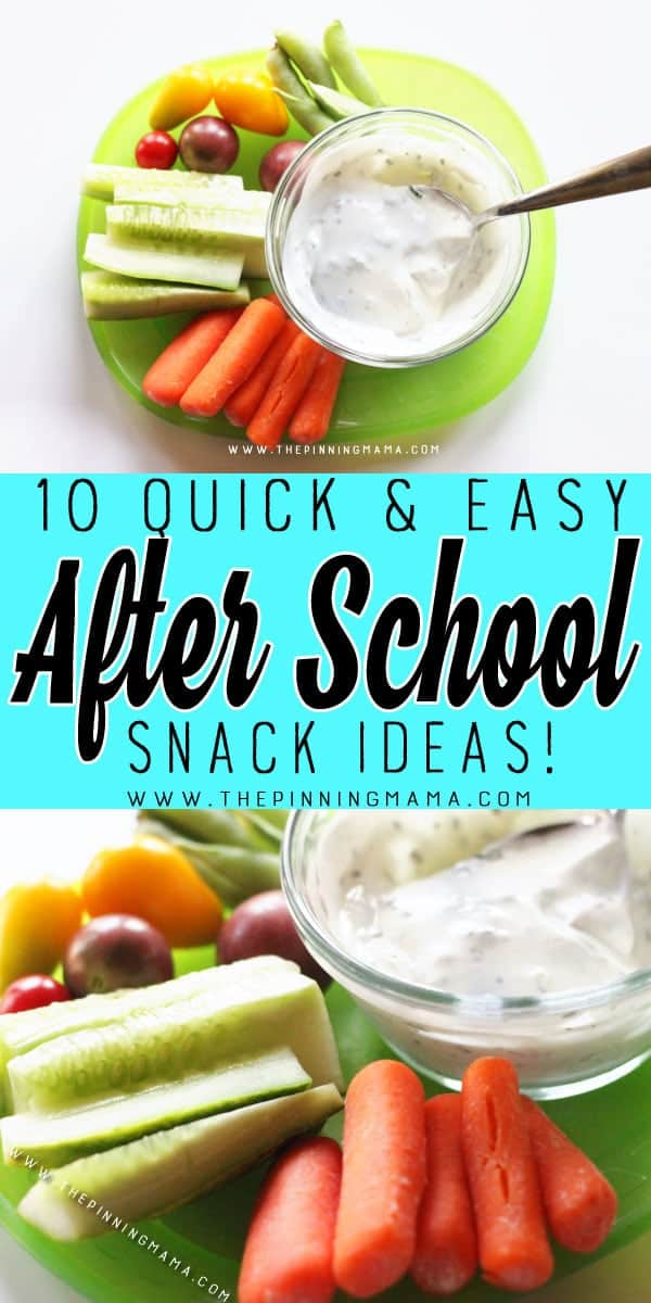 Ranch Dippers - 10 Quick and Easy After School Snack Ideas for Kids. You can literally make all of these in only 5 minutes!!
