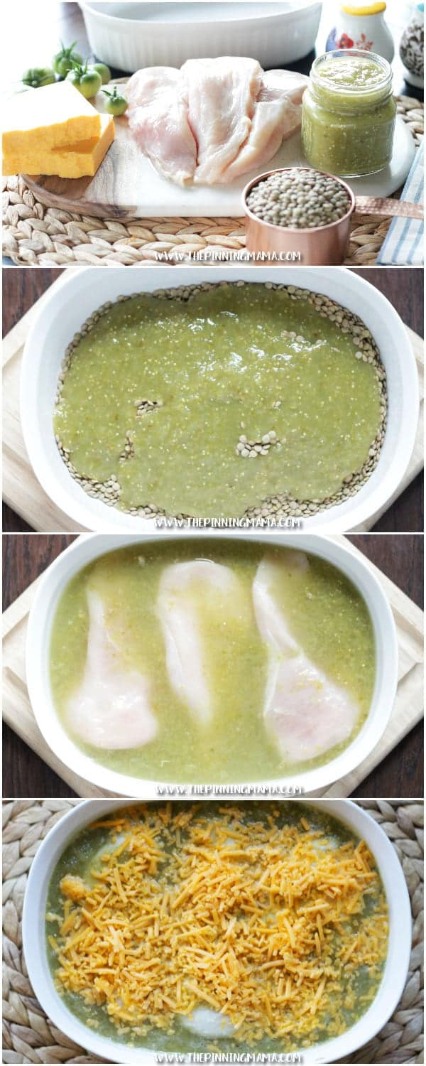 Easy + Healthy + Delicious = BEST DINNER EVER. Salsa Verde Chicken Bake Recipe is the perfect dinner idea for busy week nights. It is packed with protein and fiber and it is naturally gluten free!!