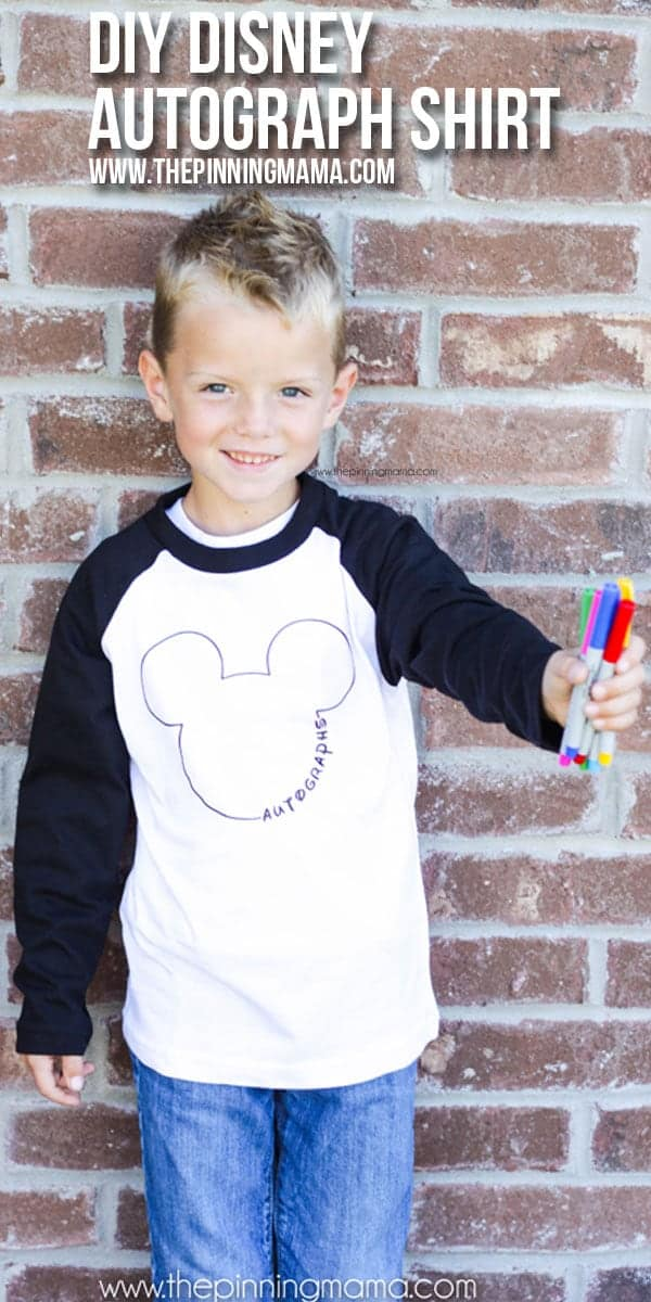 DIY Disney Autograph Shirt - Such an easy Silhouette craft idea! Totally doing this for our next trip to Disney World! My kids will absolutely LOVE it!!
