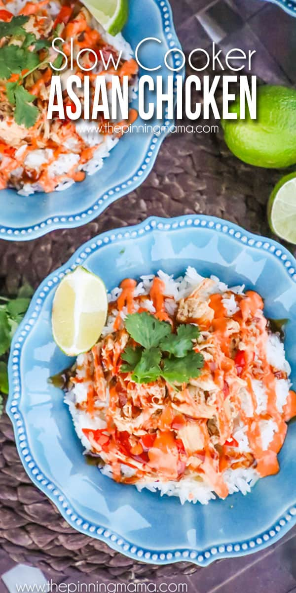 Even my kids devoured it! These Crock Pot Asian Chicken Bowls are one of my favorite quick and easy dinner recipes!