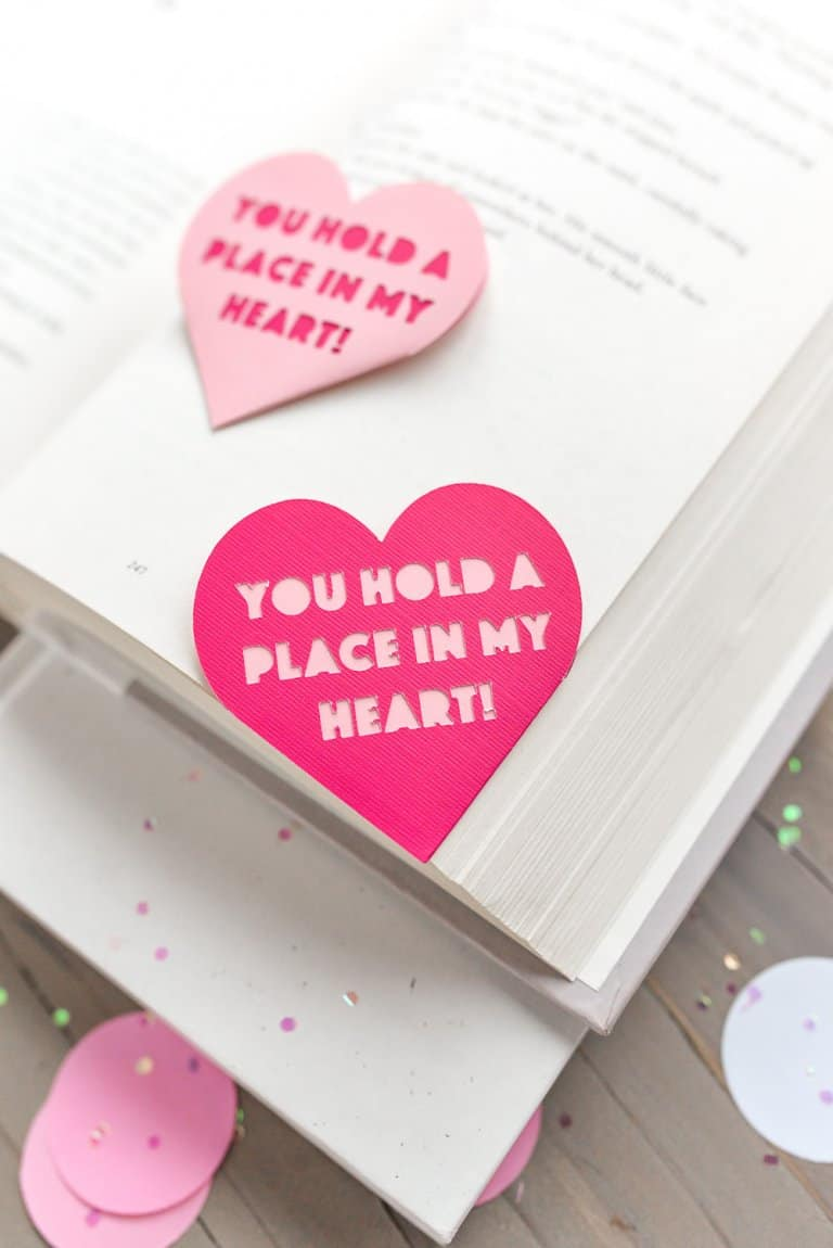 Valentine's Bookmark Craft idea - Comes with a free cut file for Cricut or Silhouette!