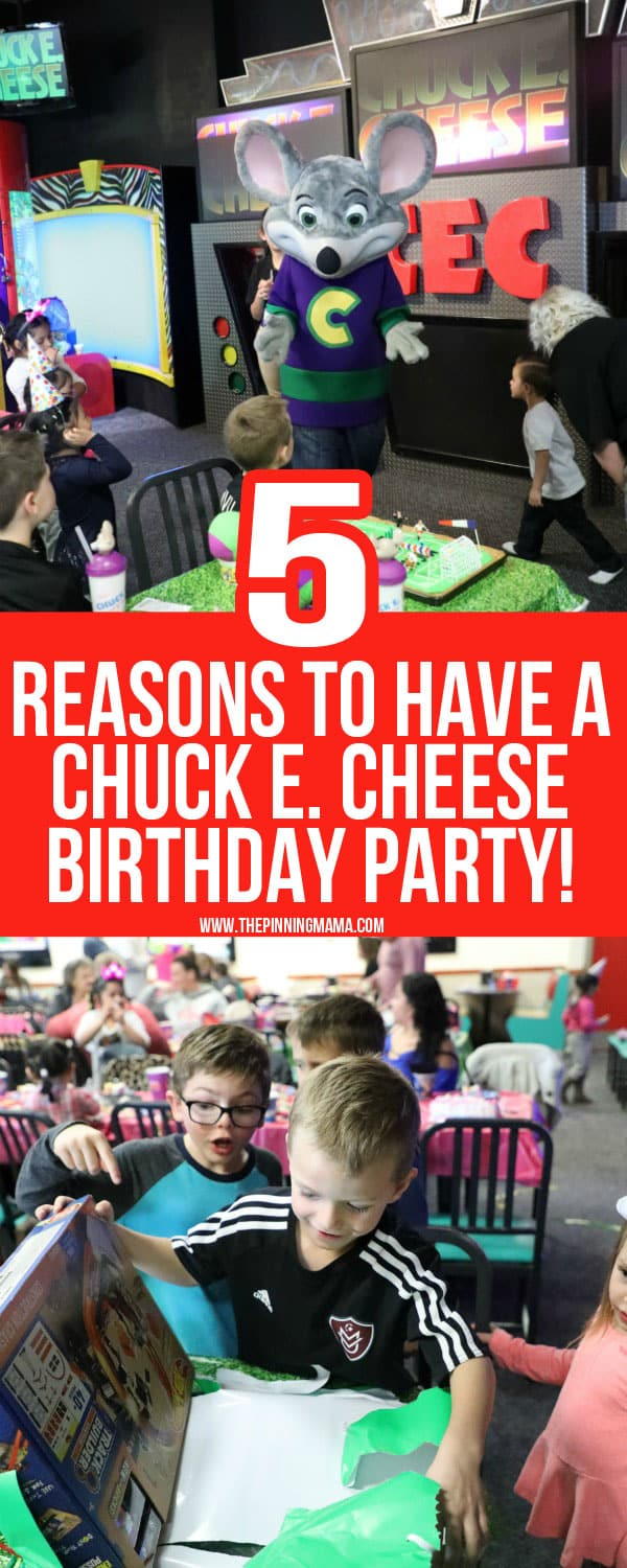 5 GREAT reasons to have a birthday party at Chuck E Cheese!
