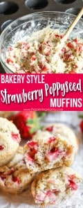 Best Bakery Style Strawberry Poppy Seed Muffin recipe! These are even better than strawberry shortcake! YUM!