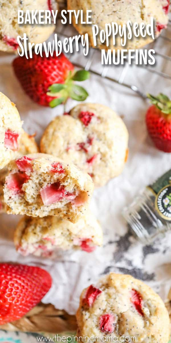 Best Bakery Style Strawberry Poppy Seed Muffin recipe! My kids beg me to make these every weekend! Perfect way to use fresh strawberries!