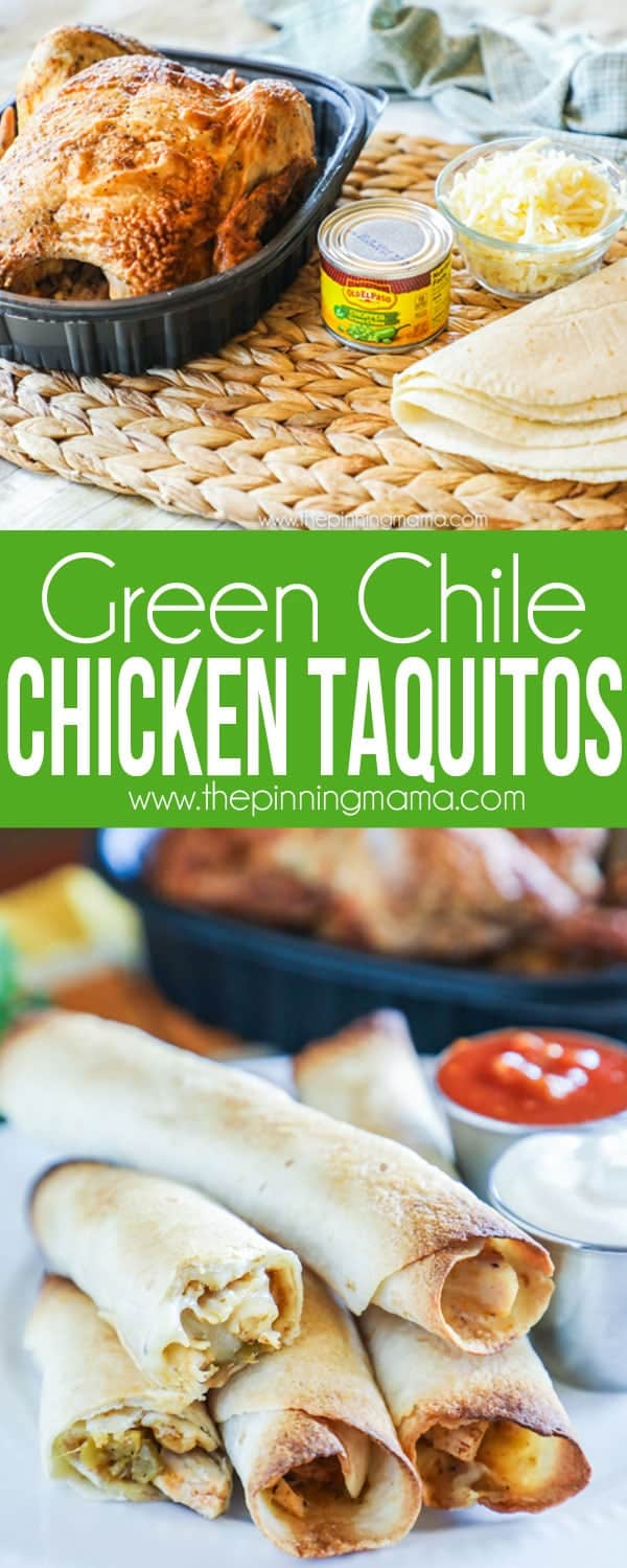 Oven Baked Green Chile Chicken Taquitos reicpe
