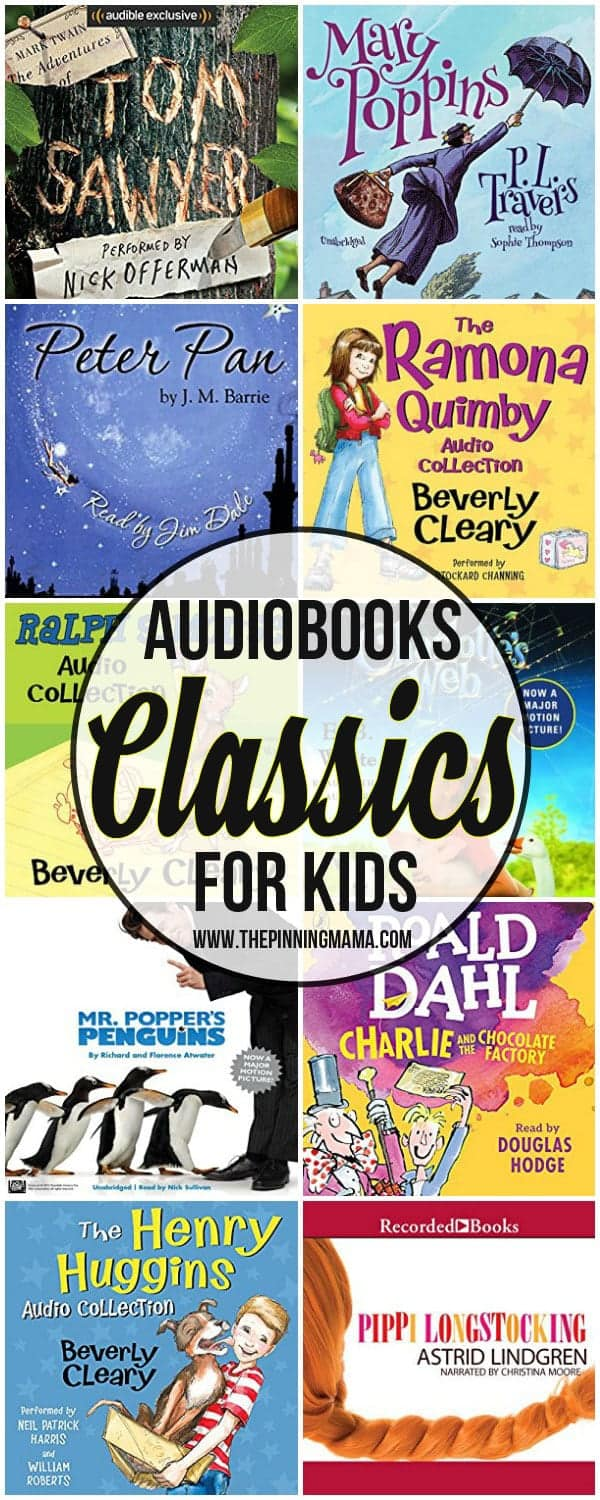 collection of classic children's book covers available on audiobook