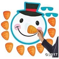 Pin the Nose on Frosty the Snowman, school games