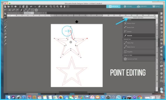 Where to find Point Editing in Silhouette Studio.