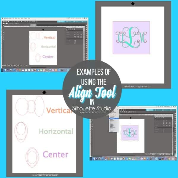 Examples of using the Align tool in Silhouette Studio.