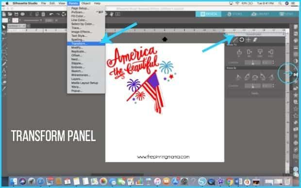 Where do you find the Transform panel in Silhouette Studio.