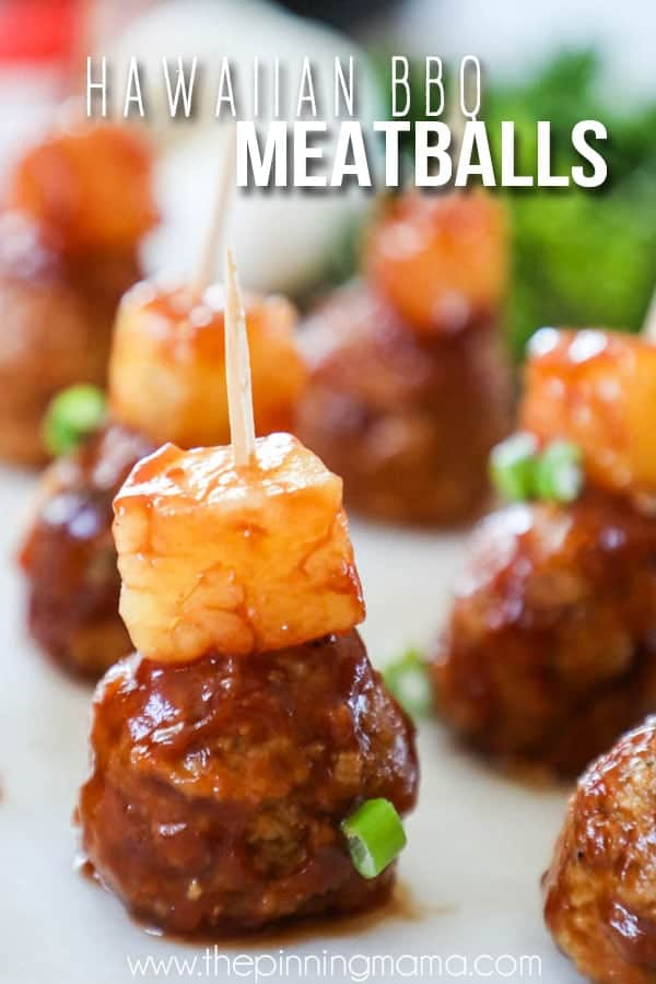 Hawaiian Barbecue Meatballs Made in the Crockpot. Perfect appetizer or dinner!