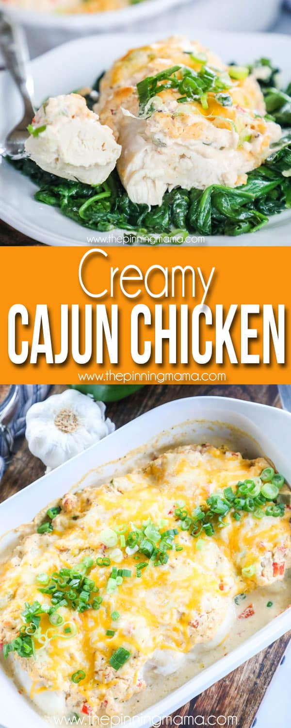 Creamy Cajun Chicken served with spinach on a plate