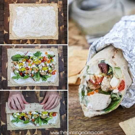 Easy Greek Chicken Wraps- Step 1 Spread the wrap with hummus and tzatziki. Step 2 Sprinkle on veggies, meats and cheeses. Step 3: Roll wrap up and wrap in foil.