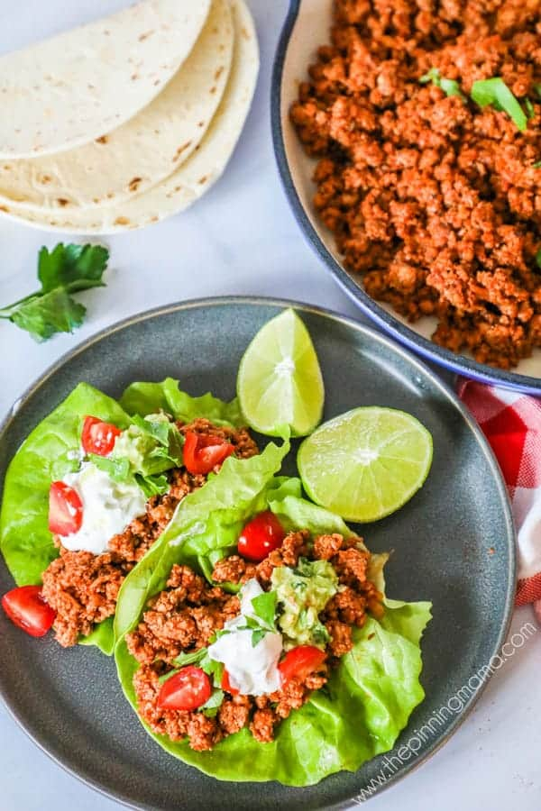 Quick and Easy Turkey Taco Lettuce Wraps.