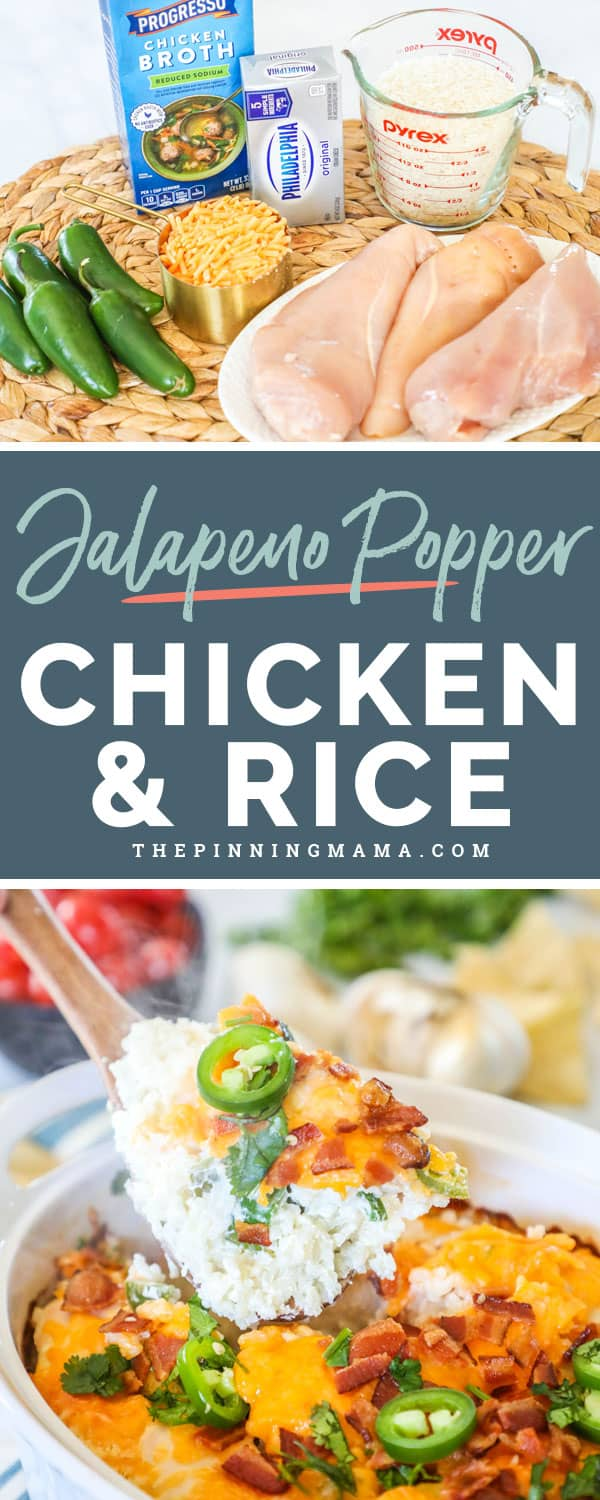 Jalapeno Popper Chicken and Rice is delicious and easy for a weeknight meal.