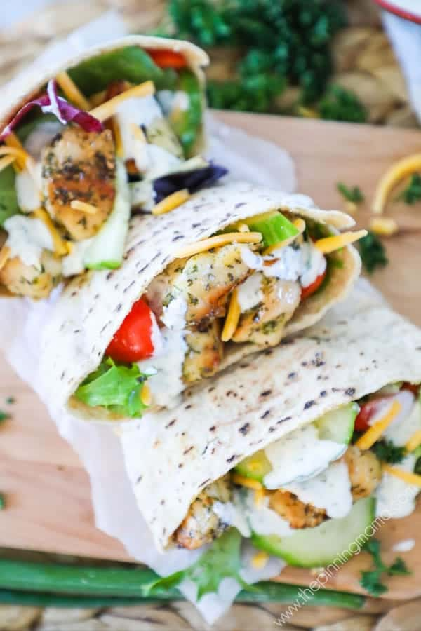 Quick and Easy Ranch Chicken Pitas are a perfect quick lunch or dinner.