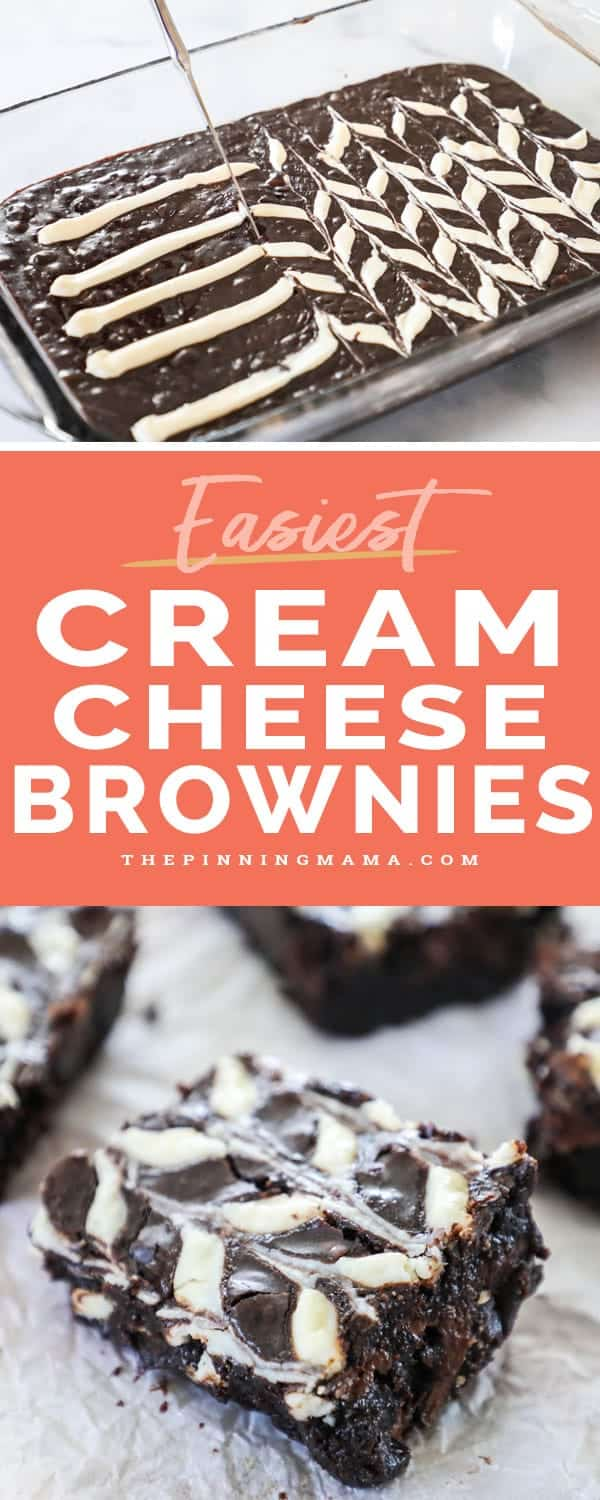 Easy and Delicious Cream Cheese Swirl Brownies.