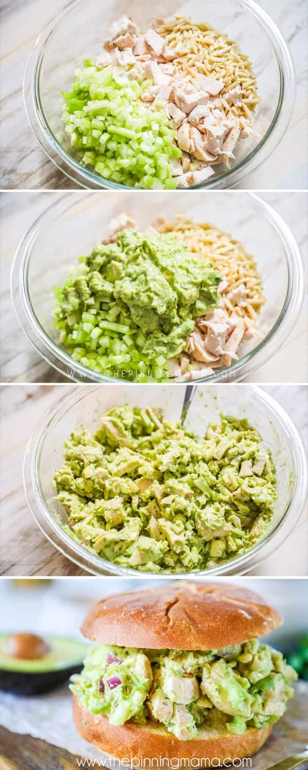 Steps to making avocado chicken salad.