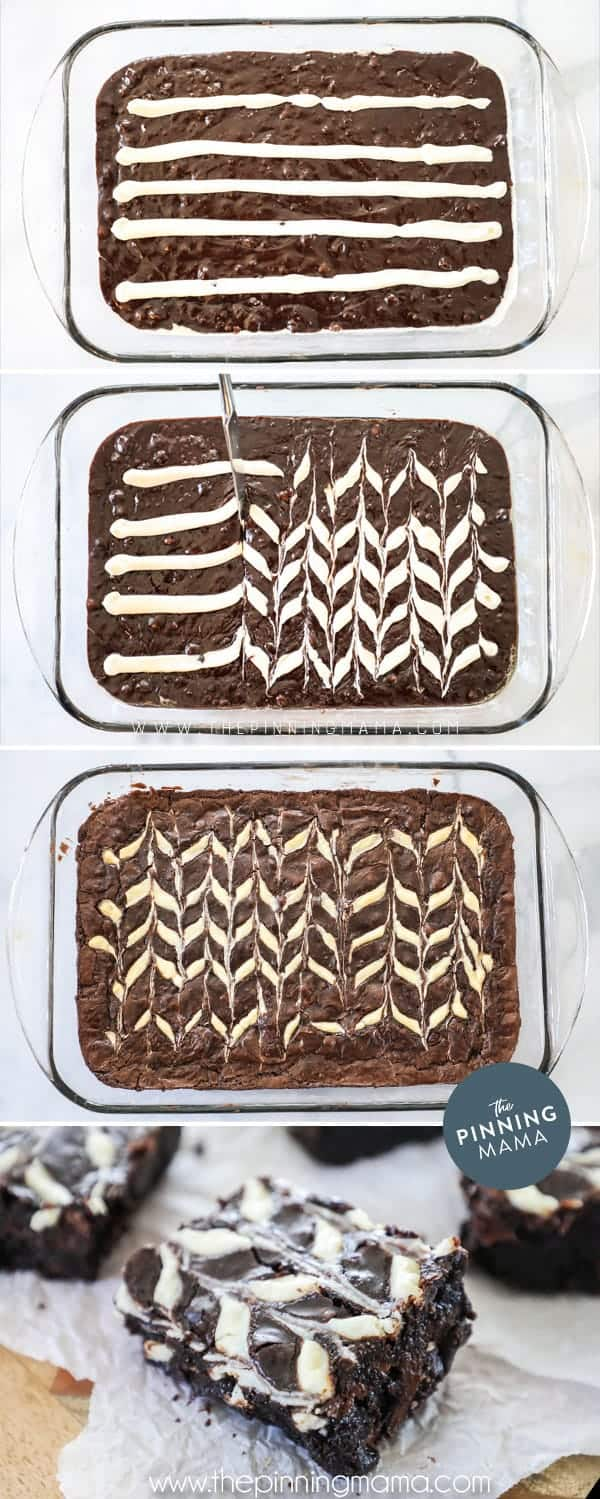 Steps to making Cream Cheese Swirl Brownies.