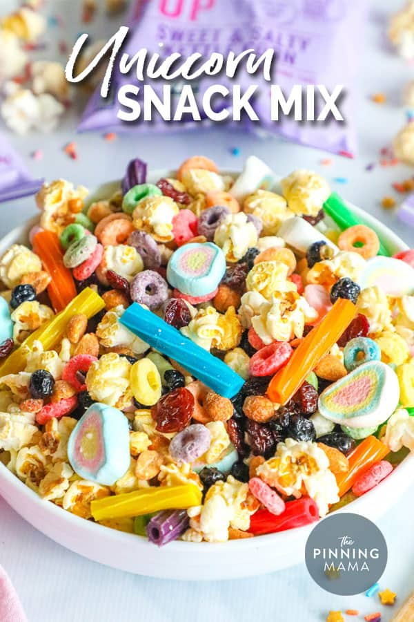 Unicorn snack mix made with popcorn, dried fruit, nuts, marshmallows and more