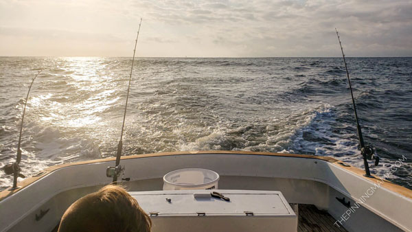Trolling for fish on a deep sea fishing charter
