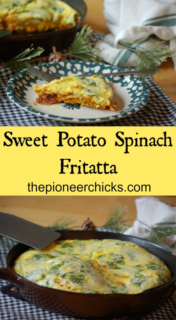 Sweet Potato Spinach Frittata- This delicious, nutritious frittata makes a great breakfast, lunch, or dinner!