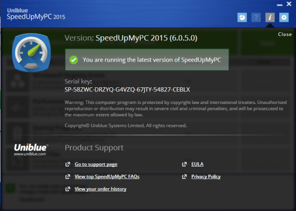 Uniblue SpeedUpMyPC activation key