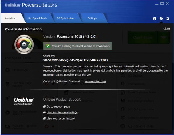 Uniblue Powersuite license code
