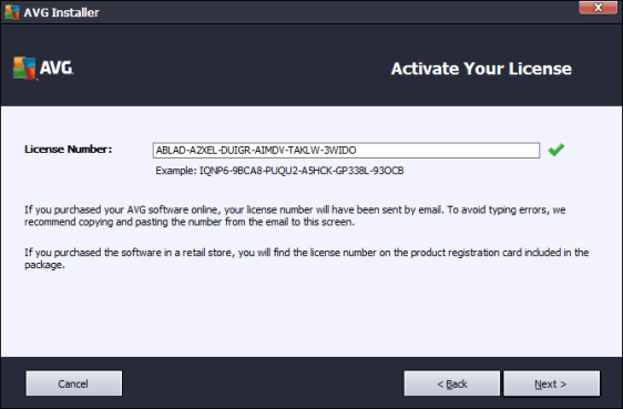 AVG AntiVirus PRO Serial number for license activation
