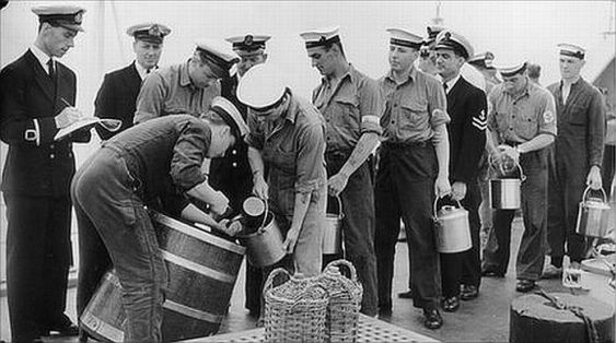 Image result for navy carrying barrel of rum