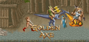 Golden Axe is a retro beat 'em up game with pixel graphics.