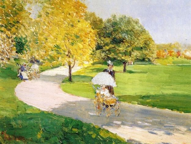 Frederick-Childe-Hassam-xx-Nurses-in-the-Park-xx-Private-collection