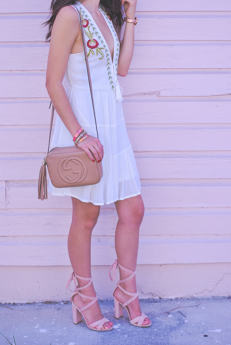 Savannah Jayne styles a casual embroidered dress.