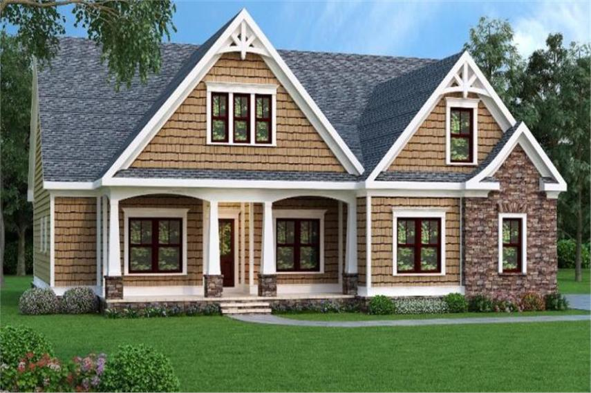 Winning Craftsman Home with 3 Bdrms  1946 Sq Ft   House Plan  104 1064  104 1064      Home Plan Front Elevation of this 3 Bedroom 1946 Sq Ft Plan  104
