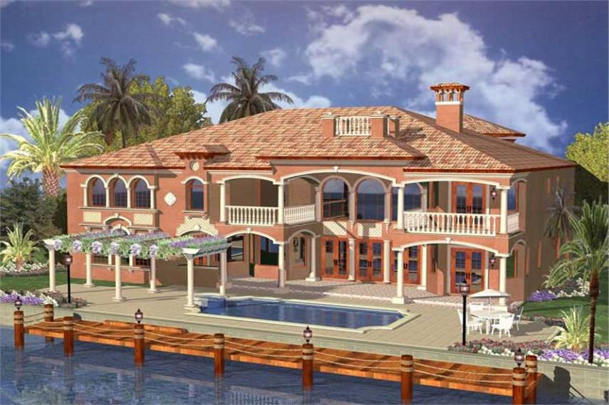 Luxury Home with 6 Bdrms  6664 Sq Ft   Floor Plan  107 1011  107 1011      Home Plan Rear Elevation of this 6 Bedroom 6664 Sq Ft Plan  107