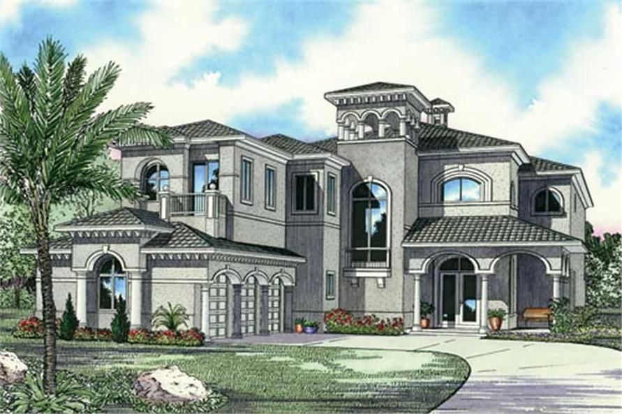 Luxury Home with 5 Bdrms  5872 Sq Ft   Floor Plan  107 1192  107 1192      5 Bedroom  5872 Sq Ft Luxury House Plan   107 1192   Front