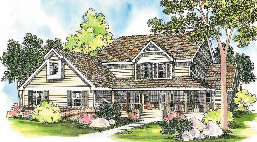 Country Home with 6 Bedrooms  3759 Sq Ft   House Plan  108 1484  108 1484      This image shows the Country Style for this set of house plans