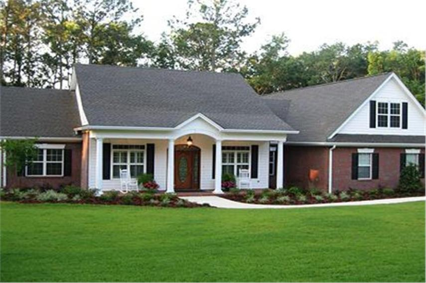 Ranch House Plans that are Affordable and Stylish Attractive Ranch house plan with brick and white lap siding and front porch  with columns