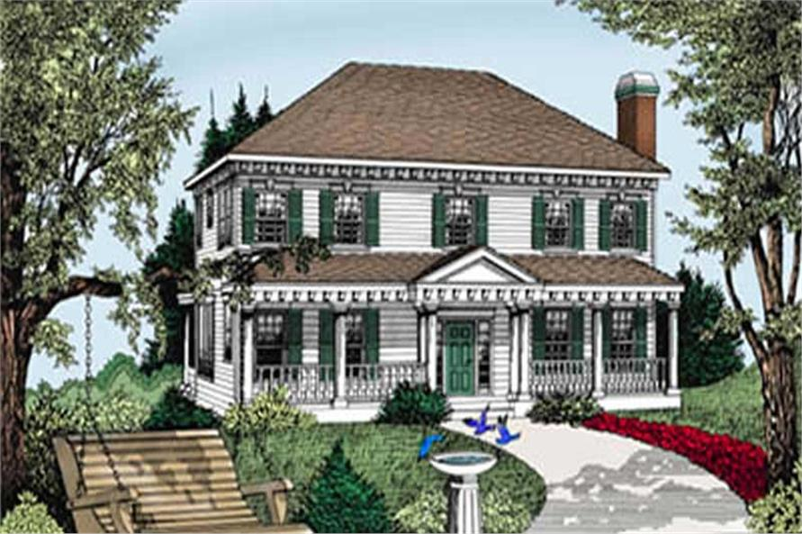 Colonial  Southern  Country House Plans   Home Design DDI101 206   2111  119 1168      4 Bedroom  3240 Sq Ft Colonial House Plan   119 1168   Front
