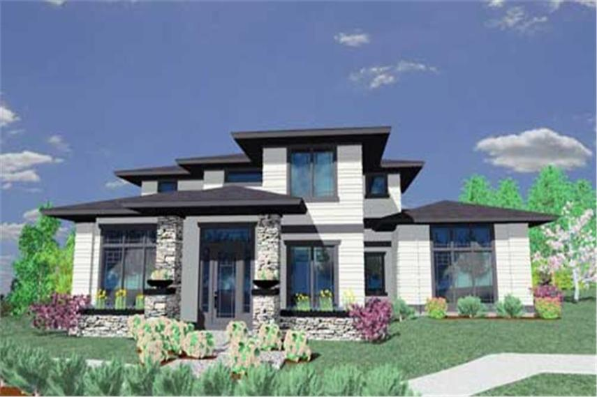 Prairie Style House Plans   Home Design MSAP 2412  149 1205      4 Bedroom  2412 Sq Ft Prairie House Plan   149 1205   Front