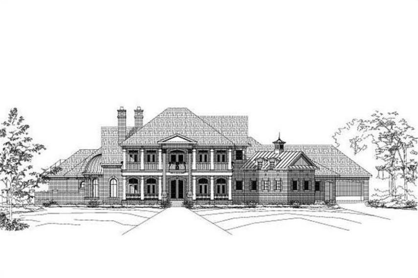 Colonial Floor Plan   5 Bedrms  5 5 Baths   7261 Sq Ft    156 1515  156 1515      5 Bedroom  7261 Sq Ft Colonial House Plan   156 1515   Front
