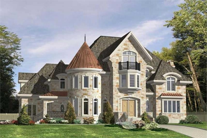 Luxury  Victorian  European House Plans   Home Design PDI 570   9385  158 1233      4 Bedroom  5858 Sq Ft European House Plan   158 1233   Front