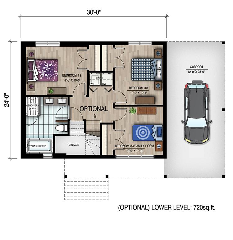 1 Bedrm 720 Sq Ft Bungalow House Plan 158 1319