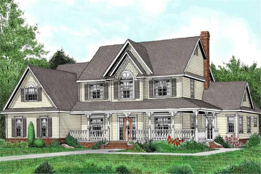 Traditional  Country  Victorian  Farmhouse House Plans   Home Design      173 1007      5 Bedroom  3464 Sq Ft Country House Plan   173 1007   Front